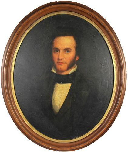 19th C Framed Portrait of a Gentleman, O/B