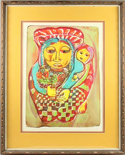 Nan Cuz (1927-1995) Guatemalan, Litho