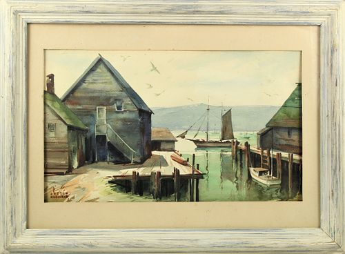Justin Kilbourne (19/20th C) American, Watercolor