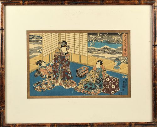 Japanese Interior Scene Woodblock