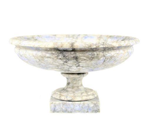 Italian Marble Tazza Bowl on Pedestal