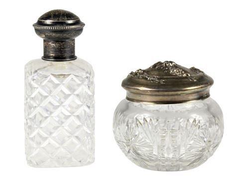 Pair of Victorian Glass Perfume Jars, Sterling Bit