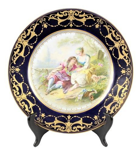 French Porcelain Sevres Style Wall Plate w Figures