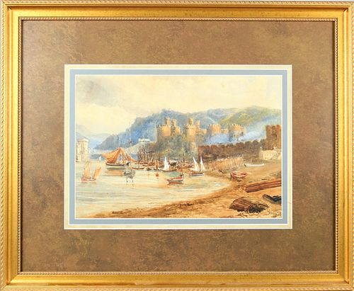 19th C Signed Watercolor of Caernarfon Castle