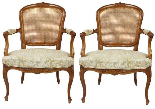 Pair of French Fauteil Chair, Upholstered