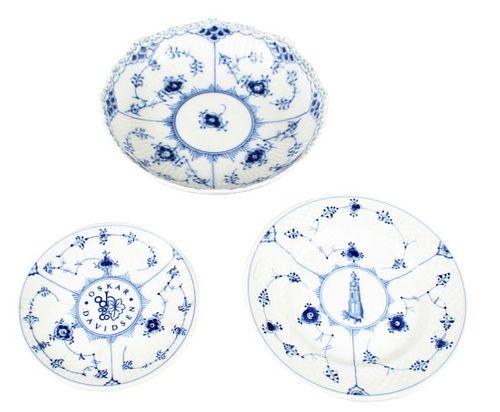 Set of (3) Royal Copenhagen B&W Small Dishes