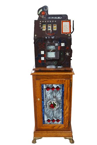 Early 20th C Nickel Slot Machine/Contemporary Base