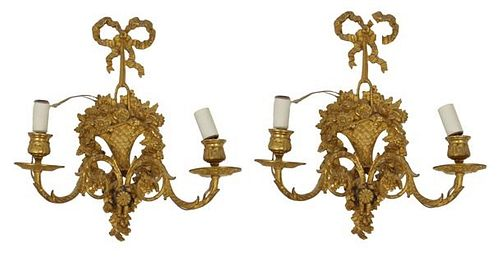 Pair of Gilt Metal Basket Sconces
