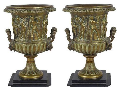 Pair of Neo Classical Bronze Urns