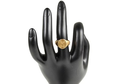 18k Yellow Gold Signet Ring