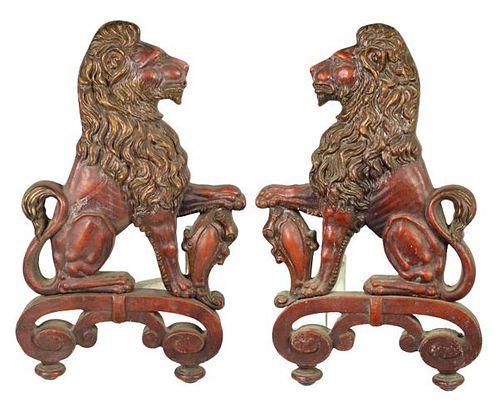 Pair Early 20th C Cast Iron Lion Rampant Andirons