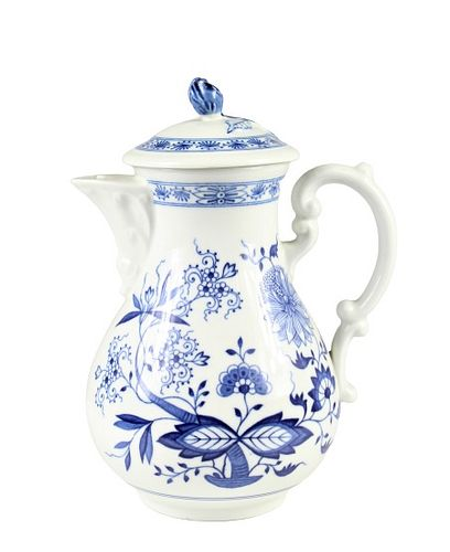 German Blue & White Porcelain Teapot w Lid