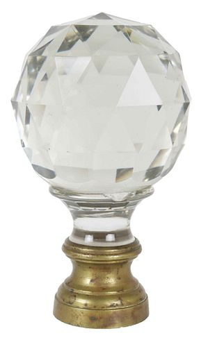 Large Antique Bronze & Crystal Newell Post Finial