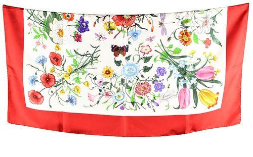 Vintage Flora Spighe Gucci v Acornero Silk Scarf