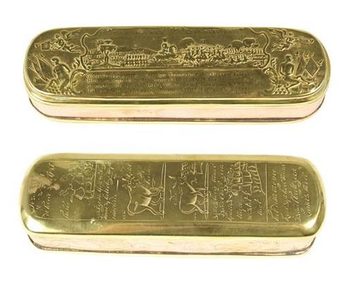 (2) 18th Century Dutch Brass/Copper Tobacco Boxes