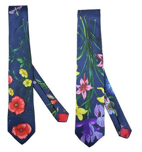 (2) Vintage Floral Gucci Men's Ties