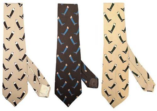 (3) Vintage Gucci Men's Ties