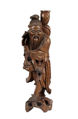 Chinese Carved Wood Figure of an Old Man