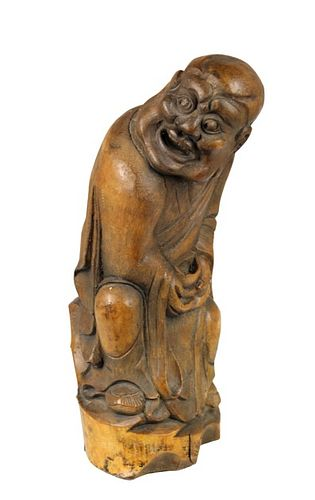 Chinese Bamboo Carving of a Monk w/ Begging Bowl