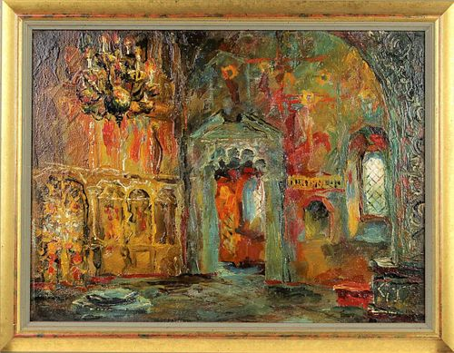 Russian Painting of a Church Interior