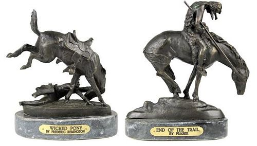 Two Western Bronzes on Marble Bases