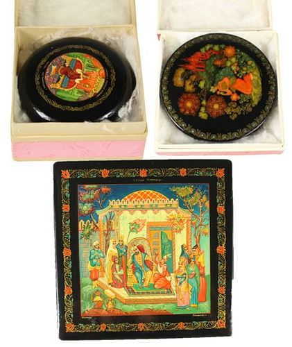 Collection of 3 Russian Lacquer Ware Boxes