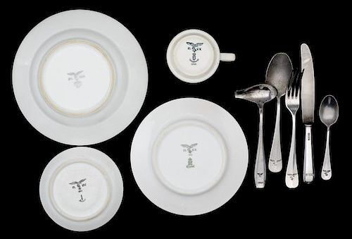German WWII Luftwaffe Mess and Flatware, Lot of Eight by