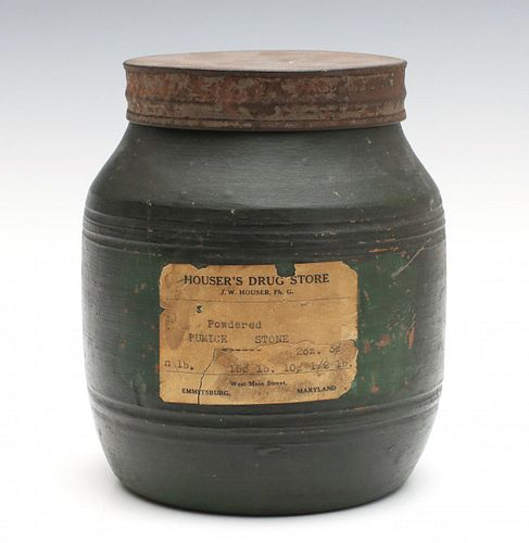 A 19TH CENTURY REDWARE STORAGE JAR IN OLD GREEN PAINT