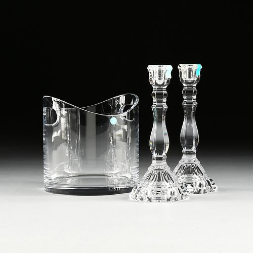 """A PAIR OF TIFFANY & CO. CRYSTAL """"HAMPTON"""" CANDLESTICKS AND A TIFFANY & CO CRYSTAL ICE BUCKET, SIGNED, MODERN,"""