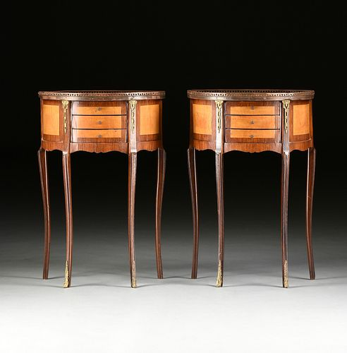 A PAIR OF LOUIS XV/XVI TRANSITIONAL STYLE BRONZE MOUNTED SATINWOOD AND MAHOGANY SIDE TABLES, 20TH CENTURY,
