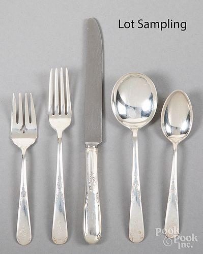 Sterling silver flatware service for twelve