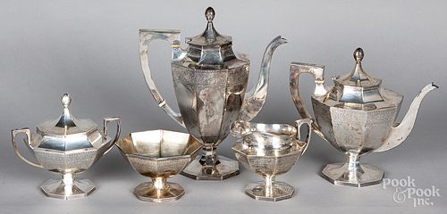 Sterling silver five piece tea service, 72.1 ozt.