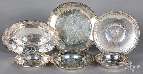 Sterling silver serving dishes, 53.6 ozt.