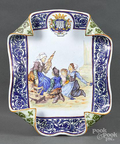 Quimper curled rim platter, ca. 1900