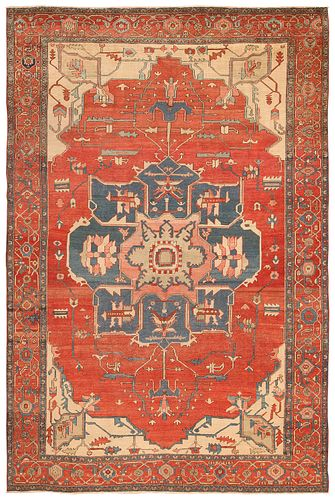 Antique Persian Serapi carpet , 8 ft 10 in x 12 ft 9 in ( 2.7 m x 3.89 m )