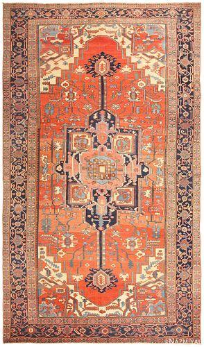 Antique Persian Heriz carpet ,11 ft x 18 ft 10 in (3.35 m x 5.74 m)