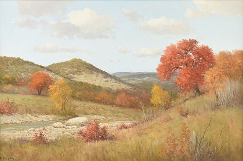 "PORFIRIO SALINAS (American/Texas 1910-1973) A PAINTING, ""Autumn in the Hill Country,"" 1968,"