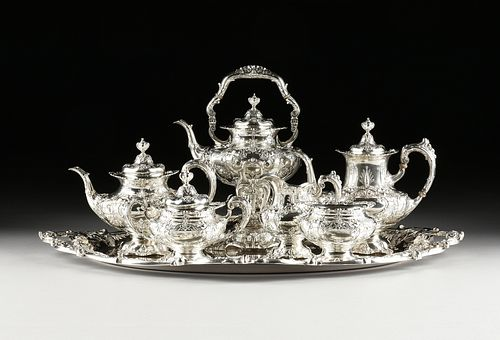 "A SEVEN PIECE STERLING SILVER REED AND BARTON ""FRANCIS I"" TEA SERVICE, TAUNTON, MASSACHUSETTS, 1941-1949,"