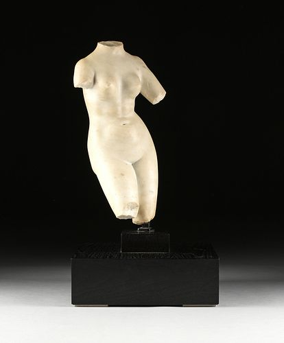 A ROMAN STYLE MARBLE TORSO OF VENUS, AFTER THE APHRODITE OF MENOPHANTOS, POSSIBLY 1ST-4TH CENTURY AD,