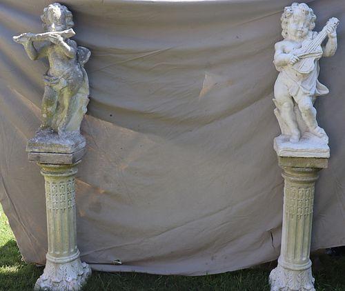 2 Antique Cement Musical Figures on Pedestals