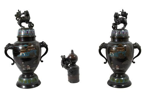 Japanese Bronze and Cloisonne Jars Together With