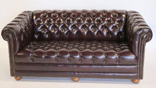 Vintage And Quality Leather Chesterfield Settee.