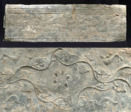 Roman Lead Sarcophagus Panel Leaping Dolphins