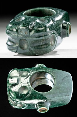 Costa Rican Green Serpentine Mace Head Jaguar