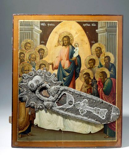 Huge 19th C. Russian Icon - Theotokos on Deathbed