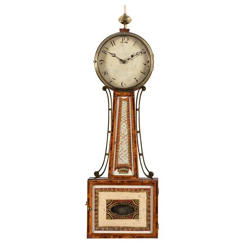 A Federal Reverse-Painted Glass and Inlaid Mahogany Banjo Clock