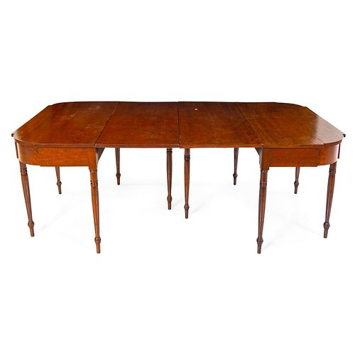 A Federal Cherrywood Two-Part Drop-Leaf Dining Table
