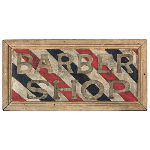 A Polychrome Painted Sheet Iron Barber Shop Trade Sign