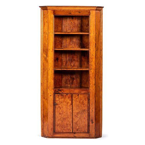 An Open Corner Cupboard in Pine
