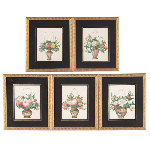 Set of Five Chinese Export Floral Pith Gouaches